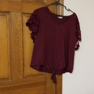 1X Maurices Wine v neck crocheted cap sleeves,nice
